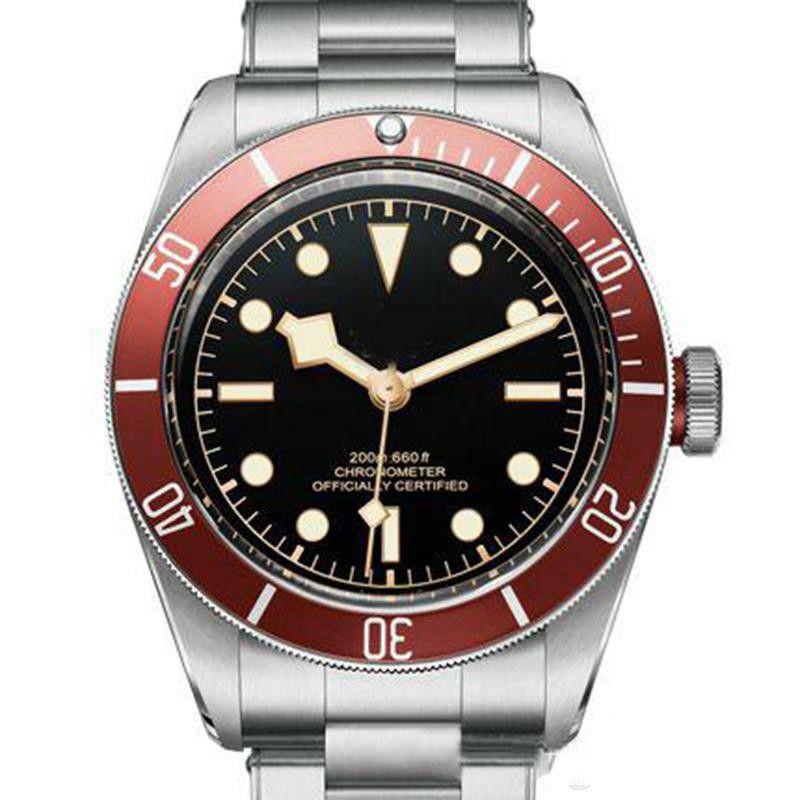 Tudorrr 남성 시계 스테인레스 스틸 자동 운동 기계 레드 베젤 블랙 ROTOR MONTRES 단단한 걸쇠 제네바 시계의 reloj 다이얼