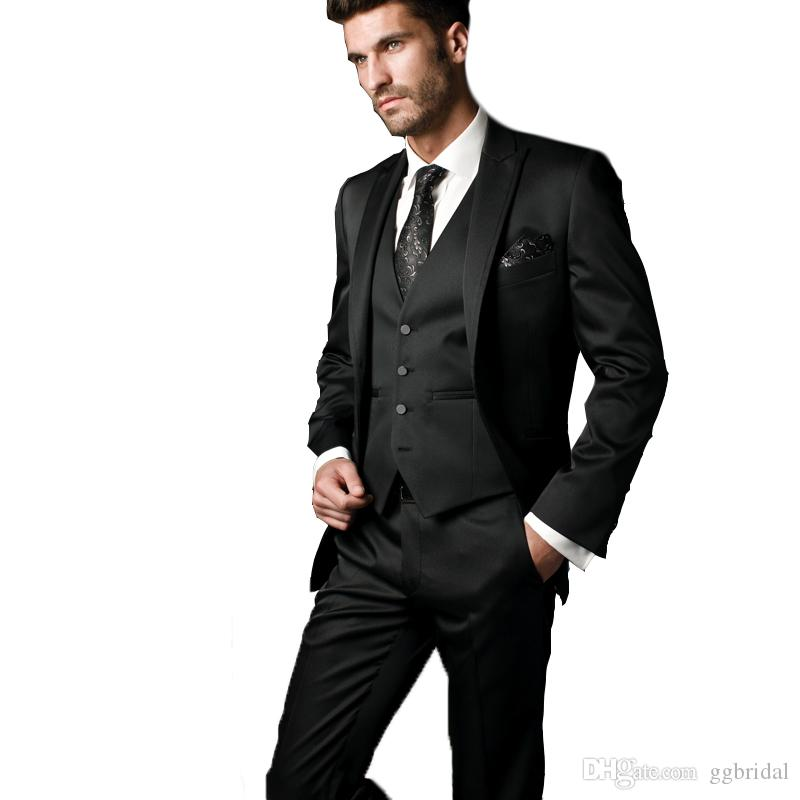Schwarzer Bräutigam Anzug Blazer + Pants + Weste 3-teilige Taschentuch-Krawatte für freie Männer Anzug für Abschlussball Hochzeit Smoking