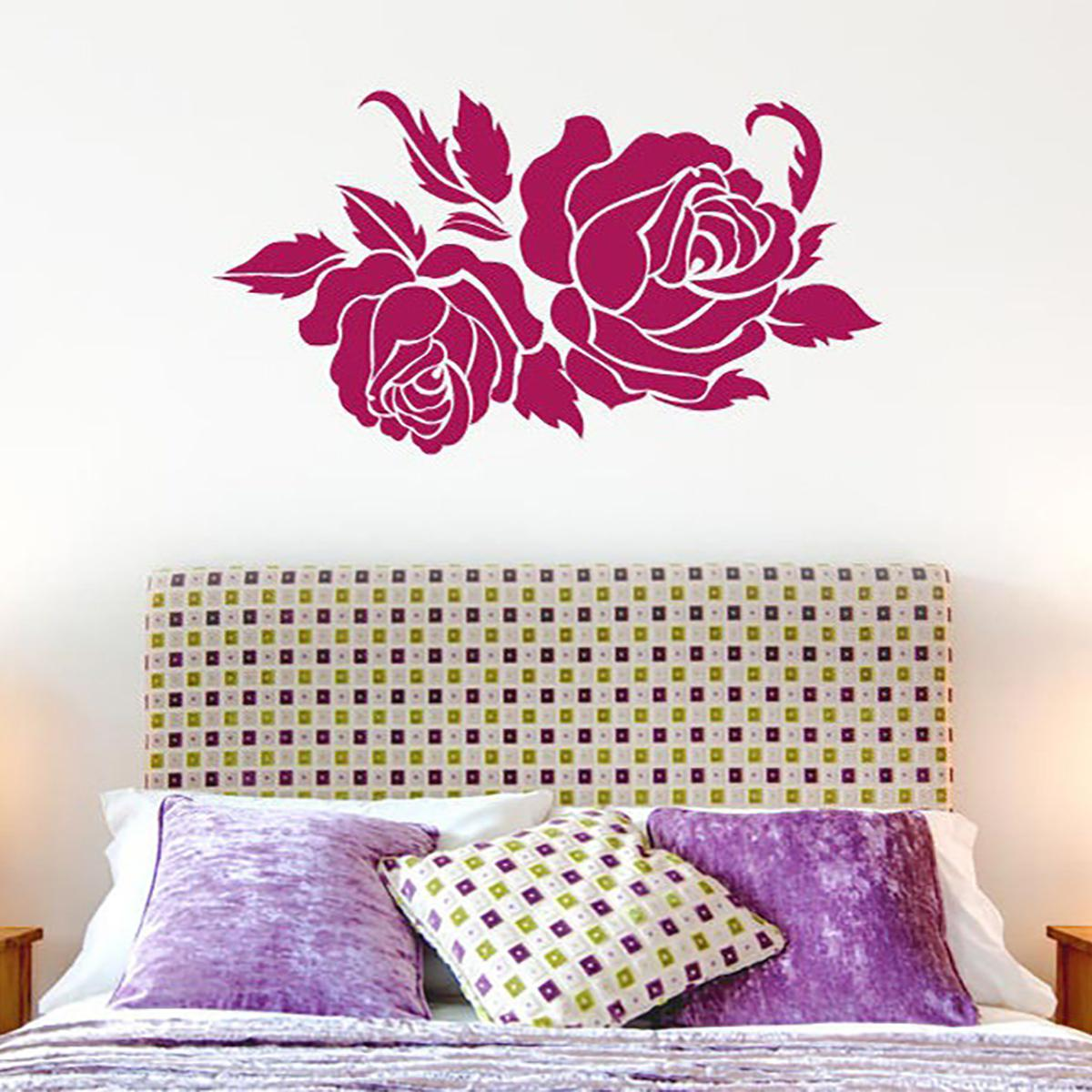 Beautiful Two Roses Pretty Flower Wall Stickers Bedroom Bedside Vinyl Art Decals Home Decor Mural Wall Decals For Girls Room Wall Decals For Home From