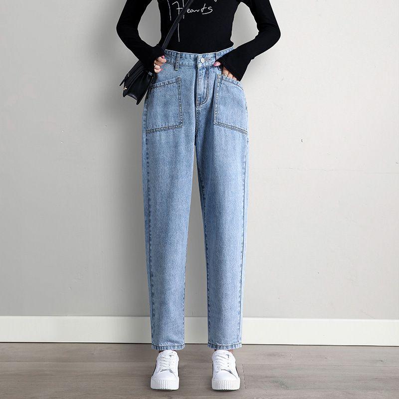 Compre Pantalones Vaqueros De Cintura Boyfriend Jeans Mama De La Mujer Altos Para Las Mujeres Ademas De Mezclilla Tamano Harem Streetwear Para Mujer Azul Estilo De La Calle De Ropa A 39 7
