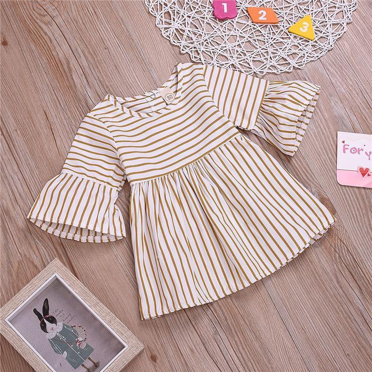Robes bébé filles d'été 2 couleurs fille ronde col manches de corne à rayures Robe bicolore princesse jupe enfants vêtements design filles TJY488