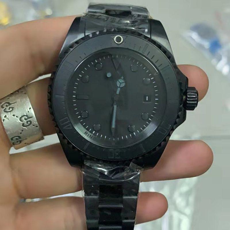 올 블랙 최고 품질의 명품 남성 시계 SEA-생물 세라믹 베젤 44mm 스테인레스 스틸 116660BKSO 자동 블랙 카메론 다이버 손목 시계