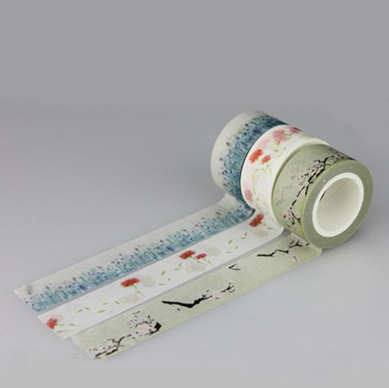 2016 Adhesive Tapes Flower Print Tape Decorative DIY Sticker Japanese Tape Adhesive Masking Tapes
