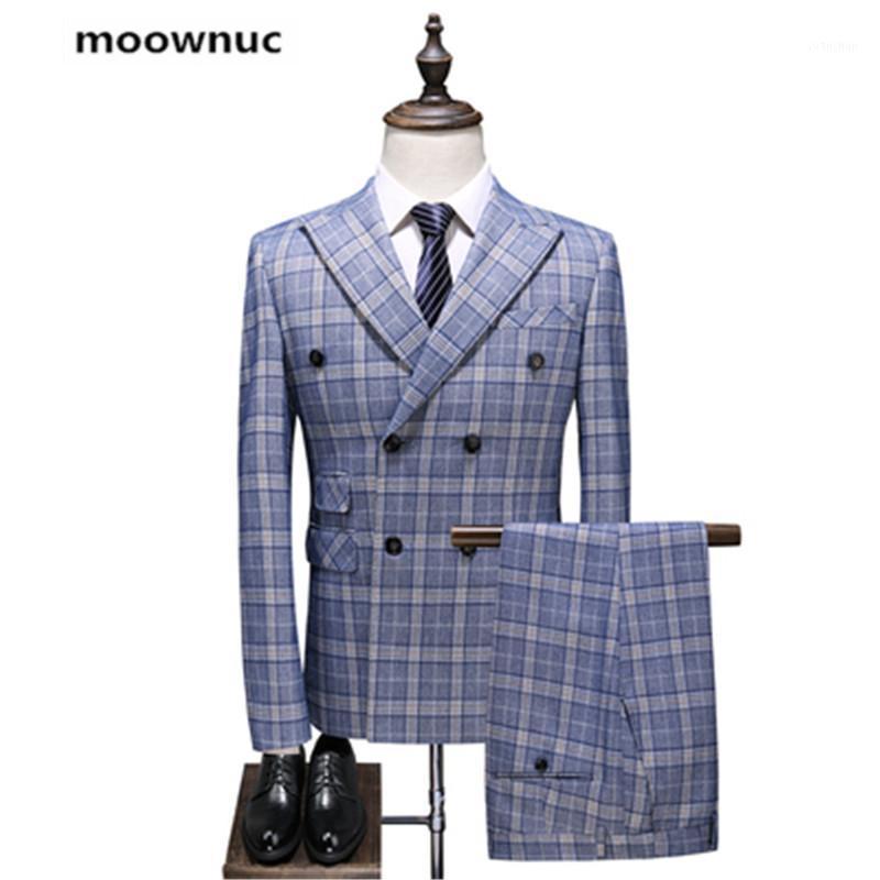 (Ceket + Yelek + Pantolon) 2019 sonbahar yeni Erkekler iş düğün Suit erkekler bayramlık Adam moda kafesli Suits Klasik takım elbise S - 5XL1