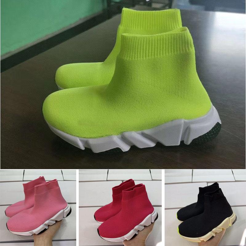 2020 الأزياء سرعة مدرب الثلاثي أسود مدينة جورب متماسكة التنفس رياضة حذاء رياضة الفتيات الصبي الشباب الأطفال طفل الاحذية