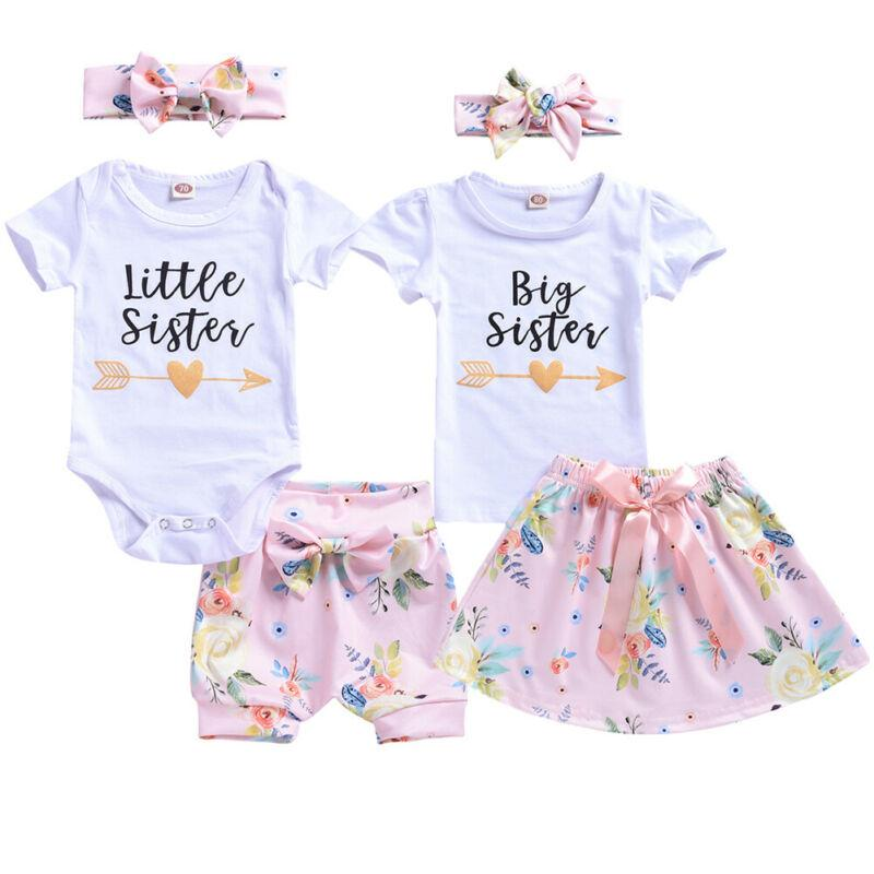 Baby Girls Little Big Sister Matching Outfits Romper Tops Pants Skirts Clothes