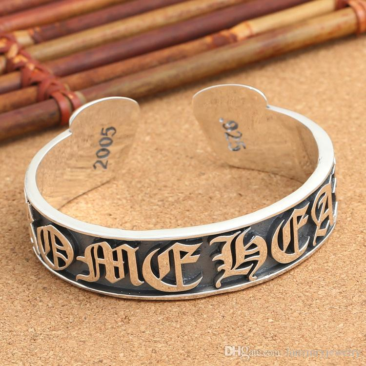 Personalized brand new 925 sterling silver vintage American jewelry antique silver hand-made designer word engraved all over open bangles