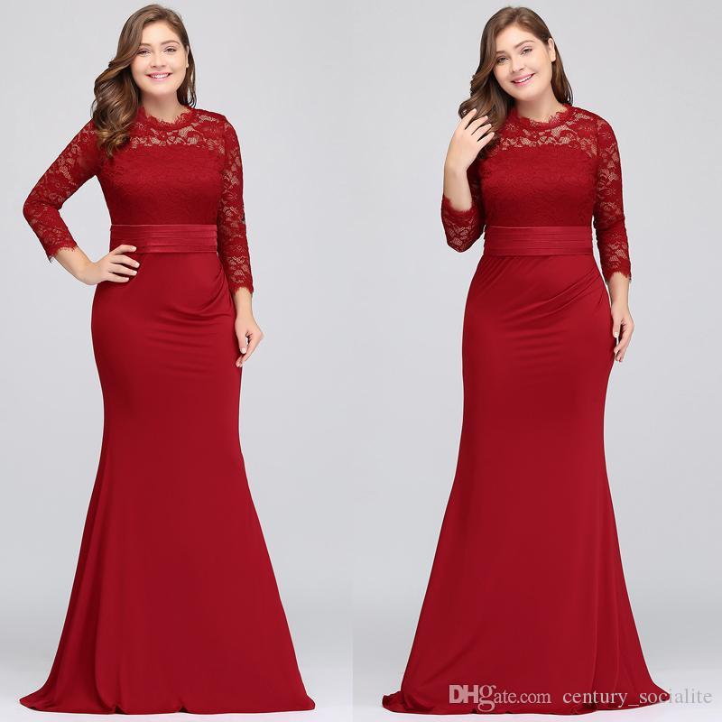 부르고뉴 신부의 신부 드레스 긴 소매 쉬 시스 레이스 국자 지퍼의 이브닝 드레스 긴 정장 가운 2019