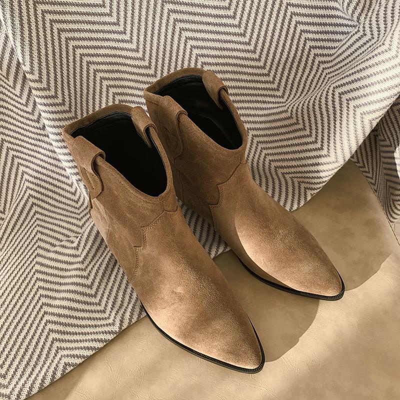 Европейский Дизайнер Мода Натуральная Кожа Коровы Ботильоны Старинные Коричневый Нубук Кожа Западная Обувь Женщины T191108