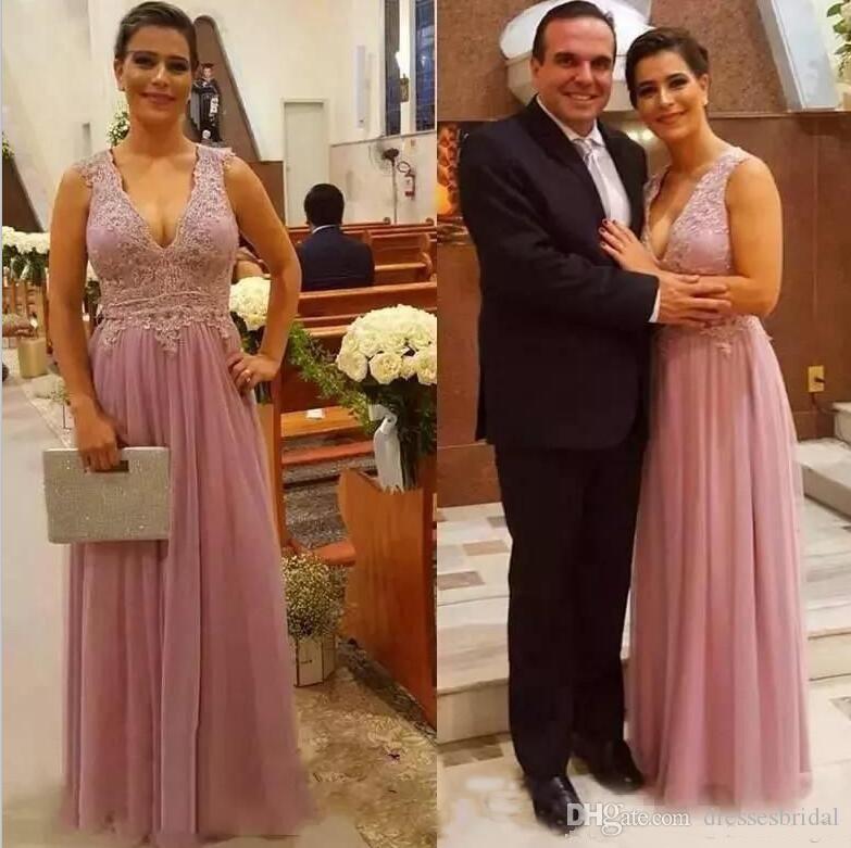 Généreux été Tulle Mère de robes de mariée V-cou Appliques A-ligne vestidos largos par madre del Novio