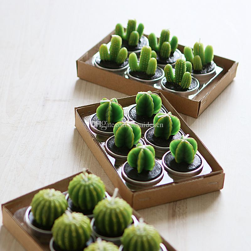 Cute Cactus Tealight Candles Handmade Set of 6 Pieces Mini Succulent Plant Candle Home Decor Birthday Gift Party Wedding Favors