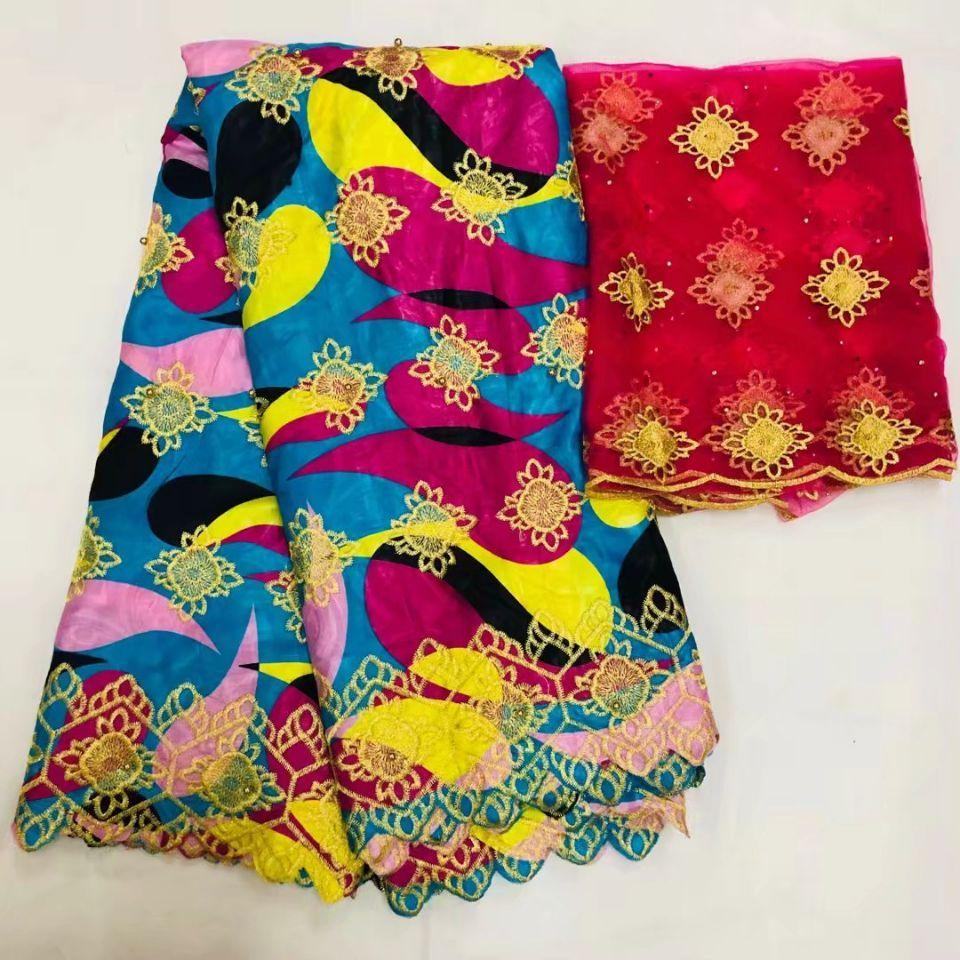 5Yds venda Quente azul Bazin brocado tecido de renda bordado colorido e 2Yds vermelho francês net blusa de renda para o vestido LS18-1