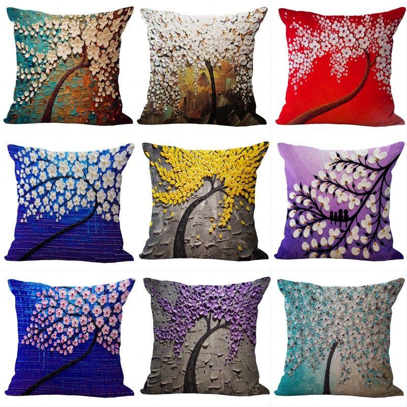 3D Yağlıboya Ağaçlar Çiçekler Yastık Kapak Kiraz Çiçeği Blooming Baskı Yastık Modern Boyalı Minderler Kapak 45x45 cm