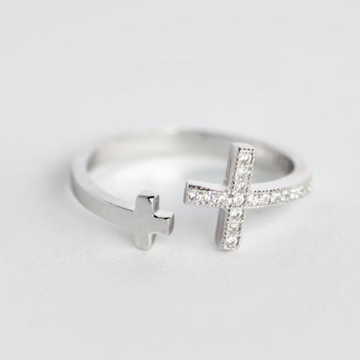MIESTILO Love Faith Purity стерлингового серебра 925 пробы двойной боковой крест кольцо | христианский стерлингового серебра-ювелирные изделия обручальное кольцо