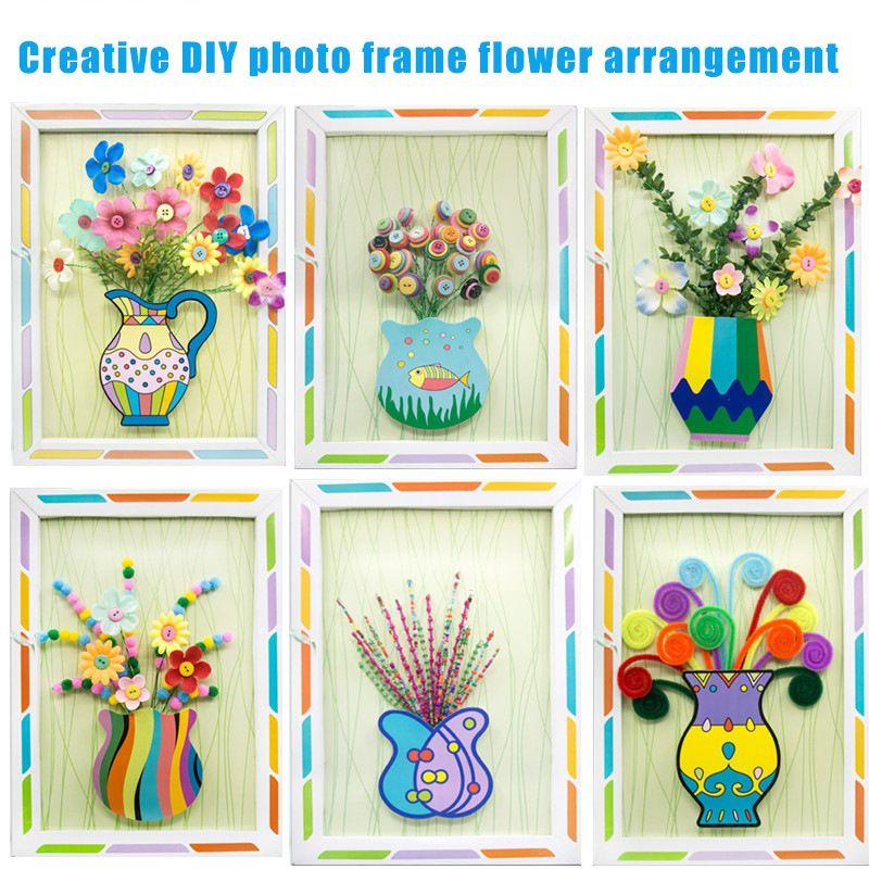 Crianças cubo de espuma Beads Artes e Ofícios Photo Frame Botão Bouquet Diy Fazendo Kit Handmade criativas puzzles 3D Pintura Brinquedos para Crianças