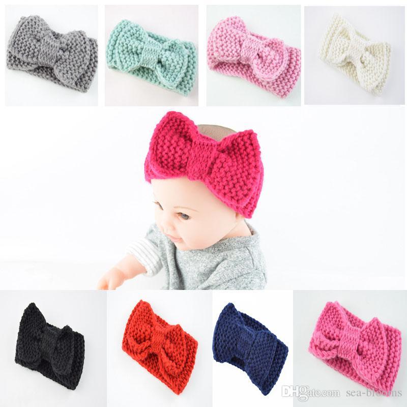 14 Styles Children's Autumn Winter Knitted Bow Hair Band Handmade Warm Headwrap Wool Headband Baby Girl Cute Hair Accessories Free DHL M29F