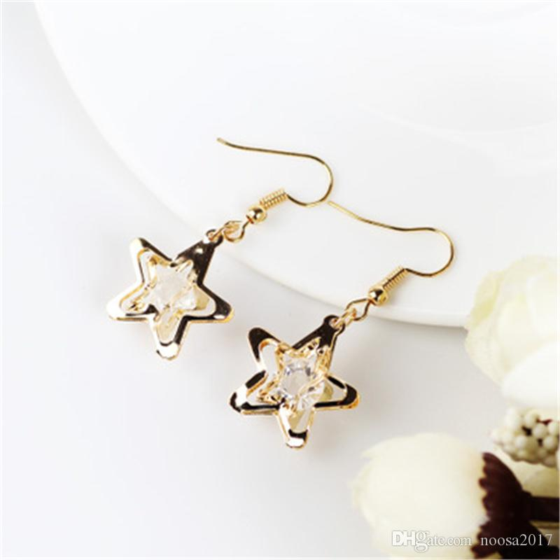 Big Geometry Hollow Five-pointed Star Stud Earrings For Women Girls Party Gifts