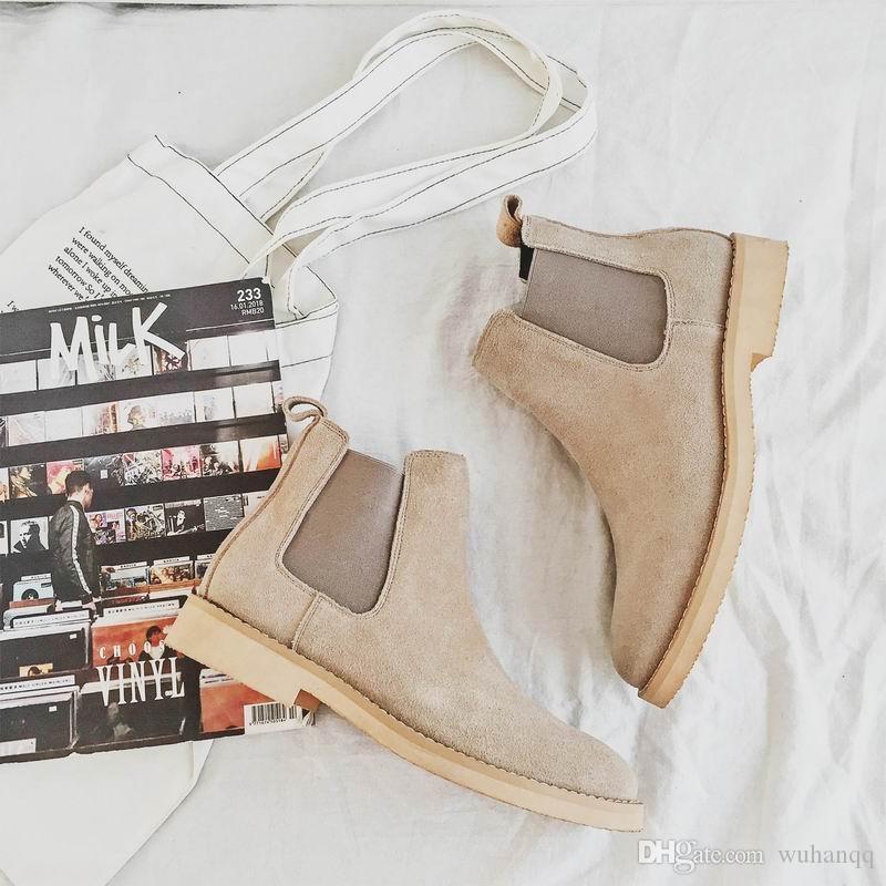 Erkek Bej Boots Moda Domuz Süet Deri Ayakkabı Man Haki Bilek Boots Lüks Özlü Günlük Ayakkabılar