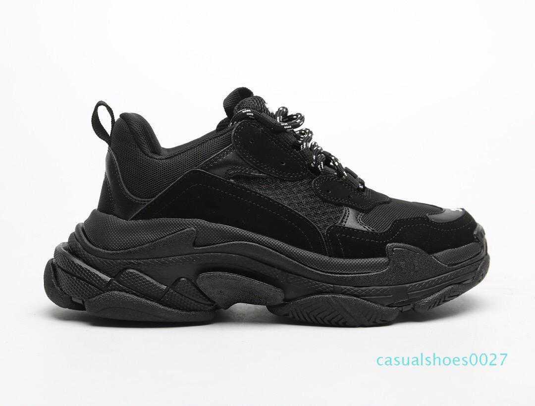 Paris Lüks Triple-S Tasarımcı Ayakkabı Vintage erkek Casual Eski Baba Sneakers Eğitmenler Siyah beyaz kırmızı Kalın tabana vurma düz ayakkabılar C27 womens