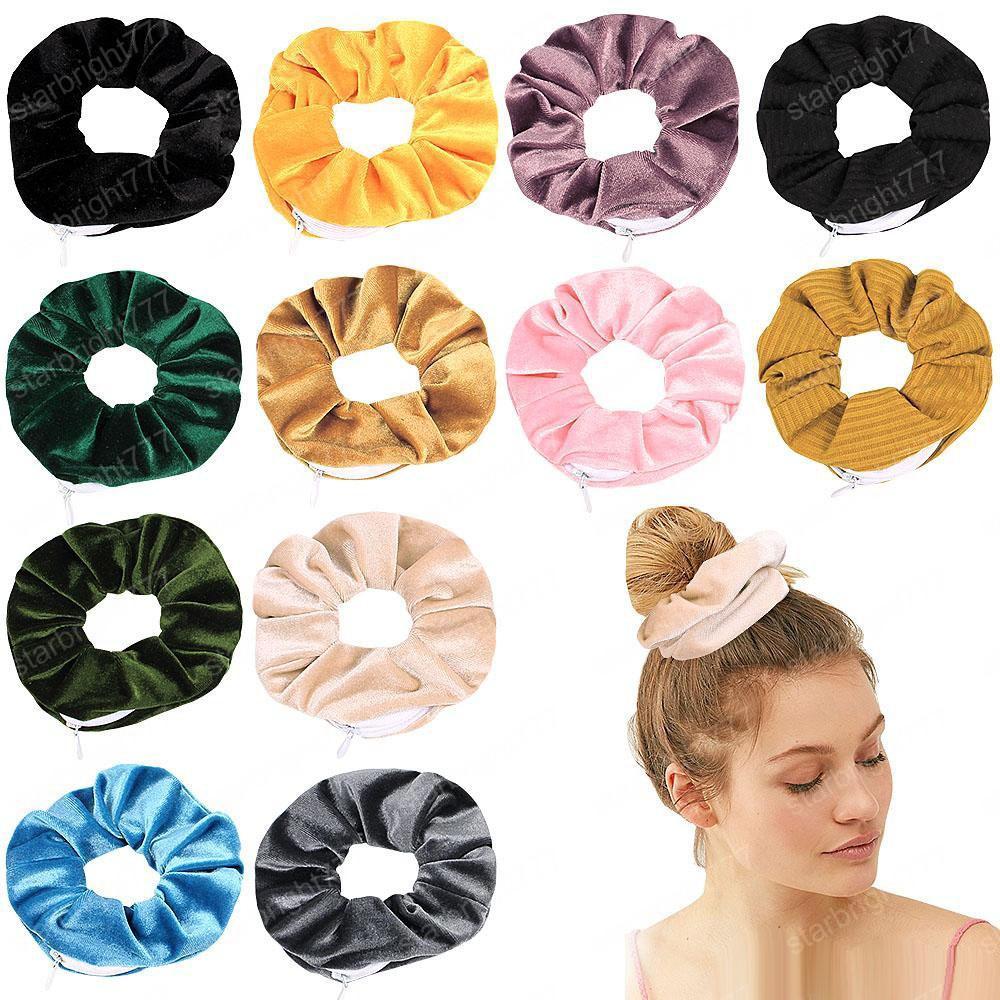 Velvet Haar Scrunchies Reißverschluss-Frauen Scrunchy elastische Haar-Bänder Mädchen Velours Kopfbedeckung Pferdeschwanz-Halter Pleuche Haar-Riegel-kleine Tasche