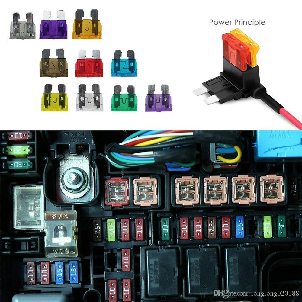 100Pcs car motorcycle Blade Fuse Kit 2A 3A 5A 7.5A 10A 15A 20A 25A 30A 35A with FUSE PULLER Fuse Dimensions 19x5x18.5mm