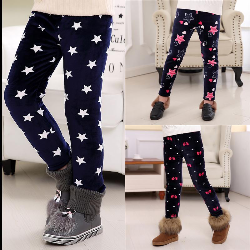 Winter Warm Gilrs Trousers Thick Velvet Leggings Kids Baby Girls Pencil Pants
