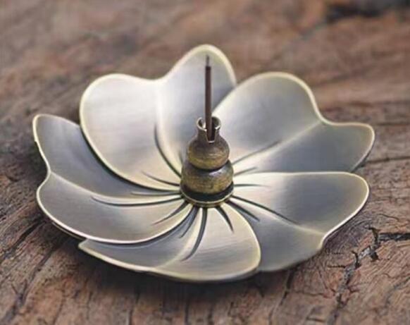 Metal Cherry Blossom Incense Burner Alloy Mini Joss Stick Censer Holder Sandalwood Censer Home Decor Free Shipping
