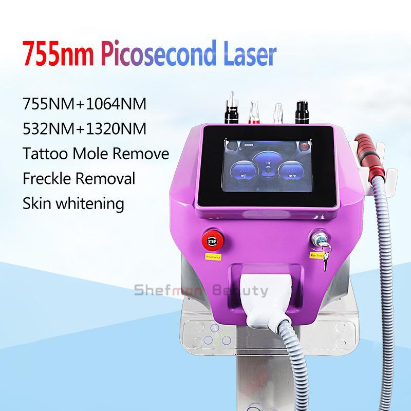 Machine de retrait de tatouage au laser de haute qualité 4 longueur d'onde 532nm 755nm 1064nm 1320nm PicoSecond Matériel laser avec pelure de carbone