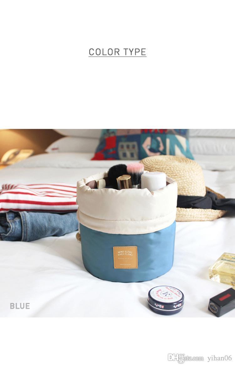 أعلى جودة ! سفر ماكياج الرباط الحقيبة دلو برميل شكل حقيبة مستحضرات التجميل حقيبة منظم أكياس تخزين أنيقة طبل غسيل أكياس 6 ألوان