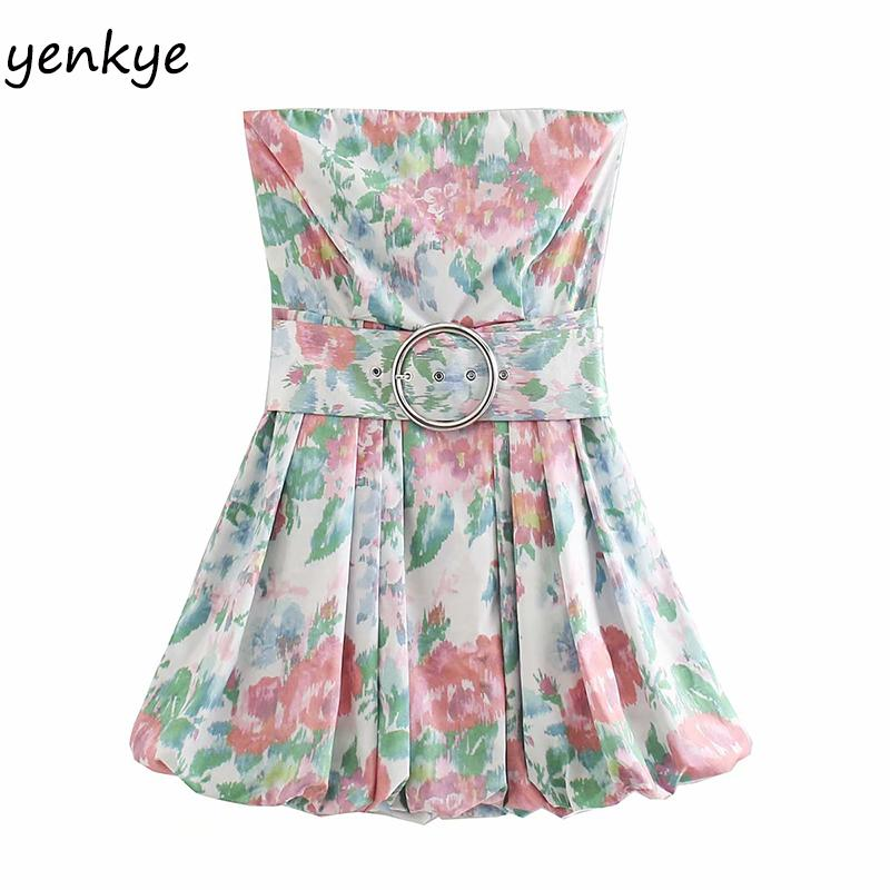 Blumendruck Sexy weg von der Schulter-Kleid-Frauen Backless Sleeveless mit Gurt-Minikleid-Sommer vestidos XNWM9243