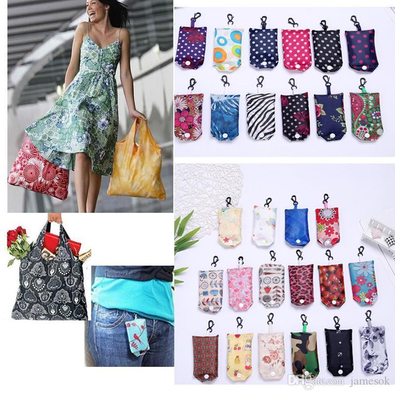 Multi-cor mais recente criativo dobrável saco de compras de nylon reutilizável saco de armazenamento verde saco de compras tote C048