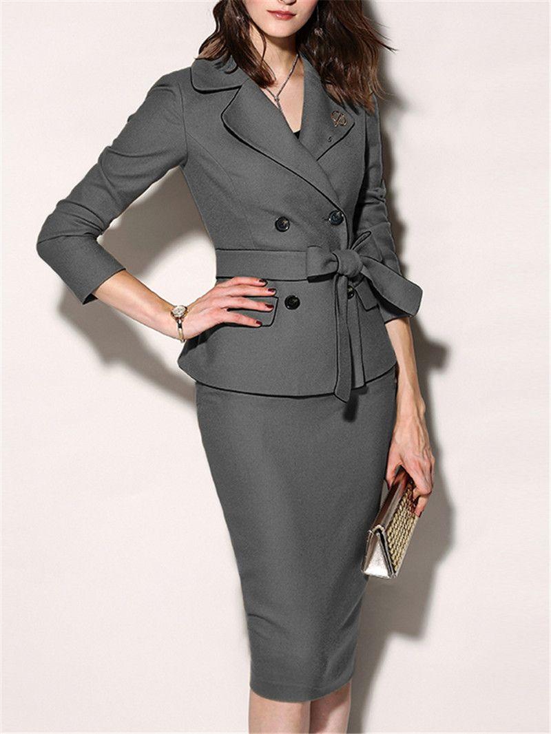Frauen elegante schicke figurbetontes formelles Kleid 2019 Herbst Winter Umlegekragen Plain Office Anzüge für Frauen Zweiteiler SH190827