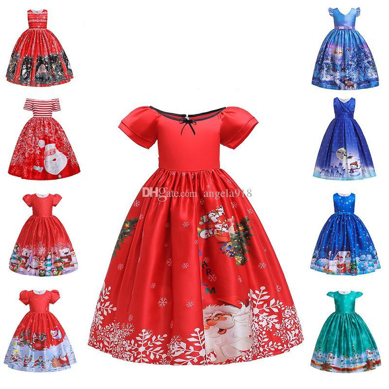 10 stilleri Bebek kız Noel Elbise Prenses Elbise Noel Baba kar taneleri karikatür baskılı çocuk çocuk giyim LA124
