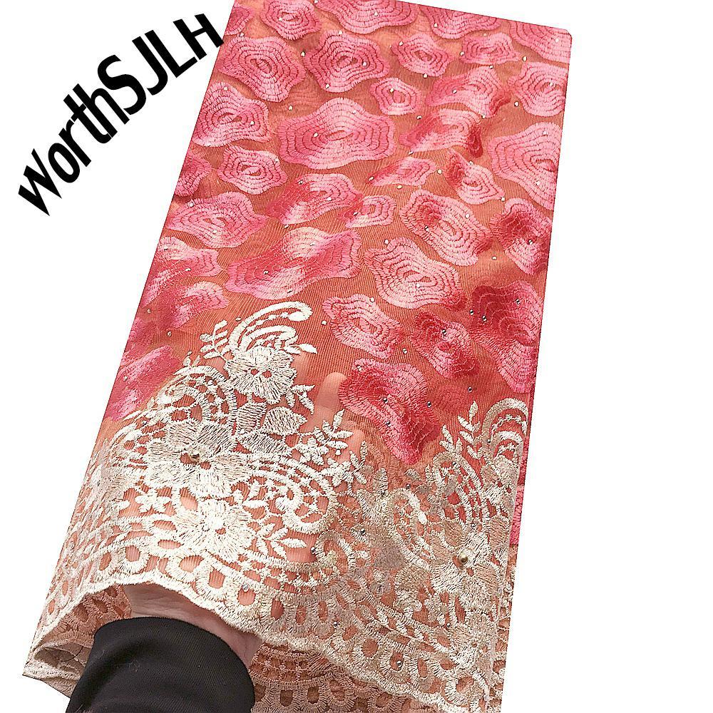 Красная Африканская Бисерная Кружевная Ткань Вышитая Нигерийская Кружевная Ткань Высокое Качество Французский Тюль Кружевная Ткань Для Женщин 5 Ярдов