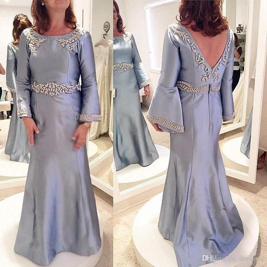 Madre raso annata del vestito da sposa a maniche lunghe della sirena Prom abiti senza schienale Appliques Perline sera Gowns