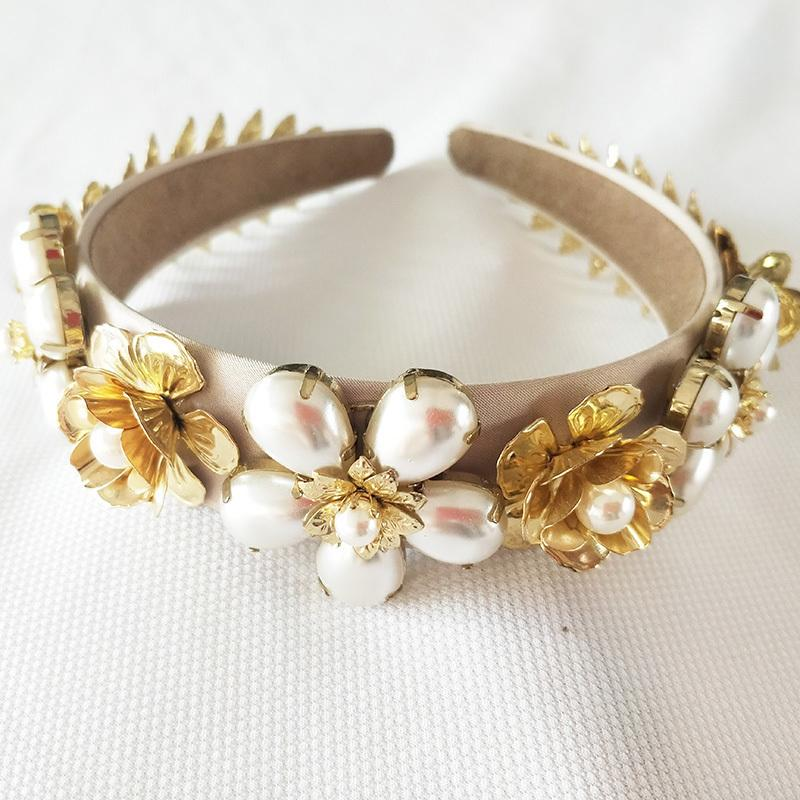 Elegant Imitation Pearl Rhinestone Inlay Bridal Golden Leaves Crown Tiara Wedding Bride Hair Jewelry Tiaras Y19051302