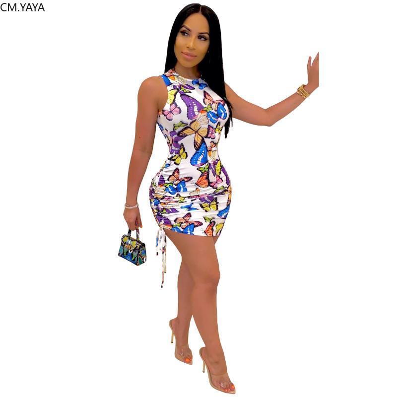 CM.YAYA donne estate farfalla senza maniche con stampa posteriore aperta impilati legare bodycon abiti midi mini abito del club matita partito sexy