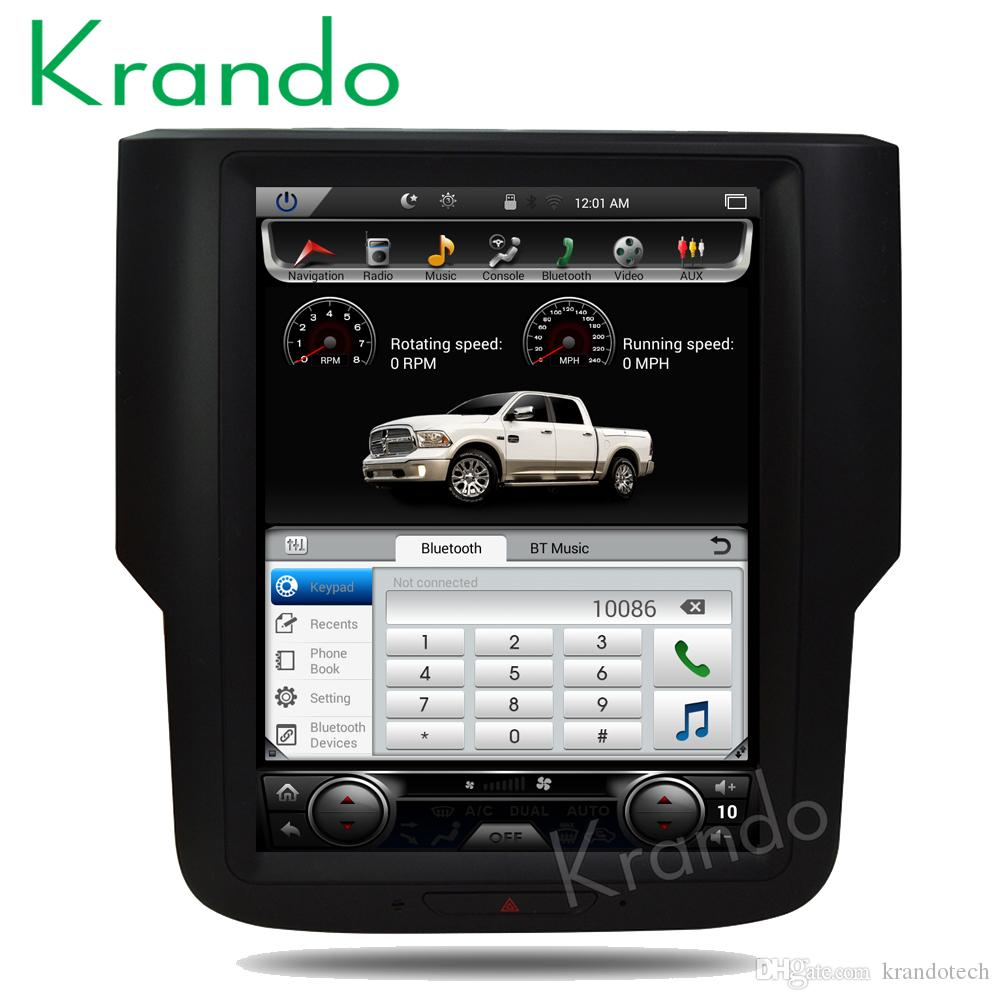 "Krando Android 8.1 10.4"" Tesla Vertical screen car DVD radio player GPS multimedia system for Dodge Ram 1500 2014-2018 navigation KD-DV125"