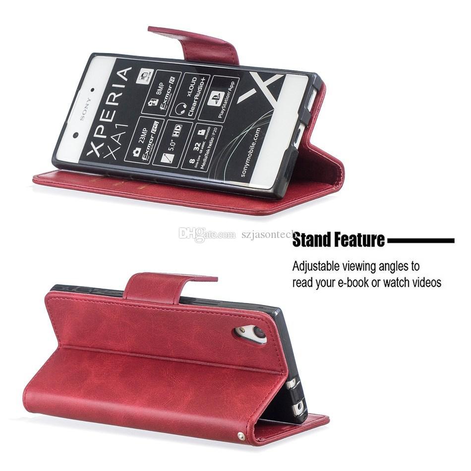 Pour Sony L1 XZ PREMIUM XZ1 XA1 Boîte Portefeuille Portefeuille Cadre photo Cadre photo Coque de téléphone coloré pour Samsung