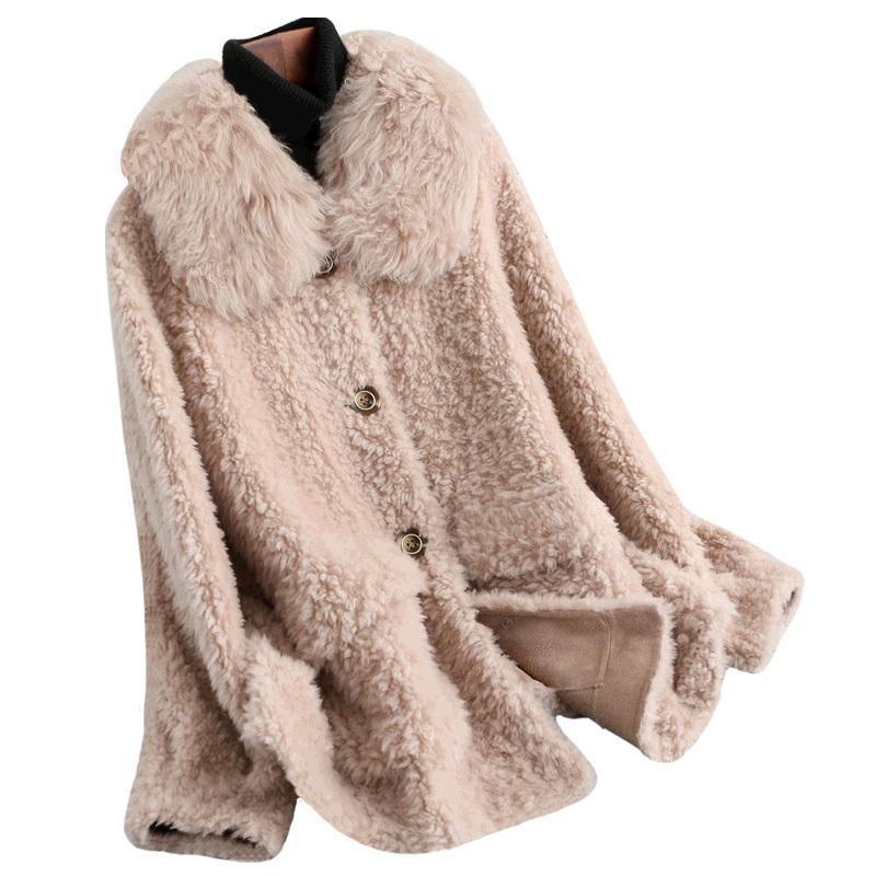 Autumn Winter Coat Women Clothes 2020 100% Wool Jacket Real Fur Coat Korean Vintage Sheep Shearling Tops Manteau Femme ZT3876