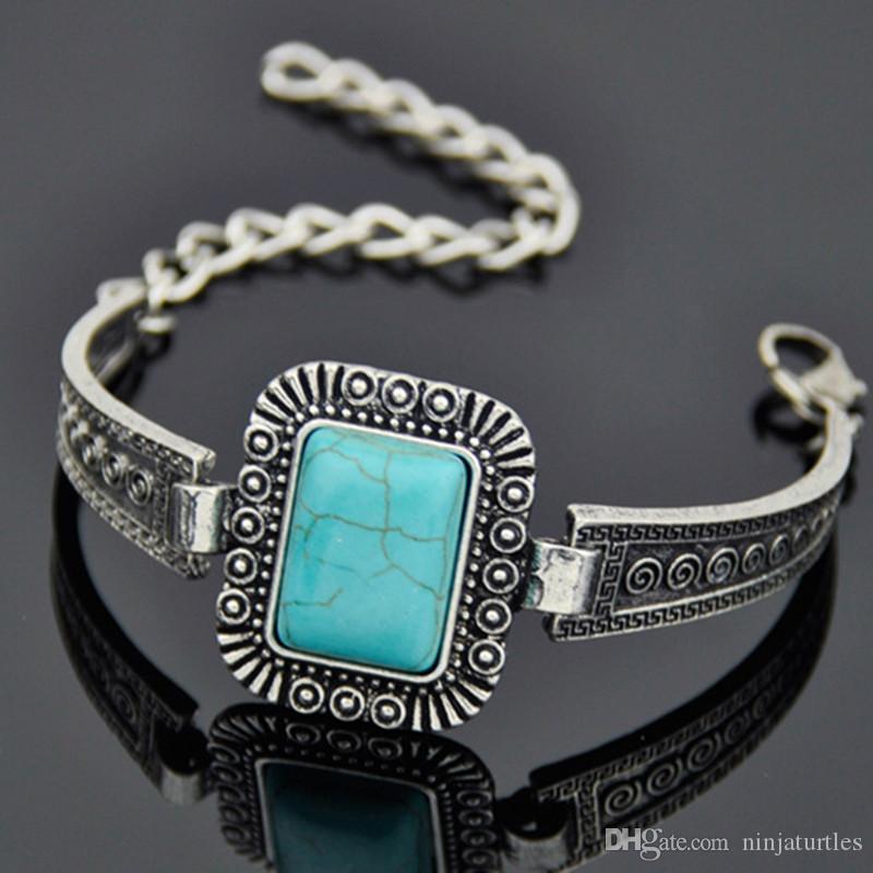 12pcs moda ragazza tibetano stile vintage argento quadrato in lega turchese bracciali in pietra naturale bangles gioielli all'ingrosso MB167