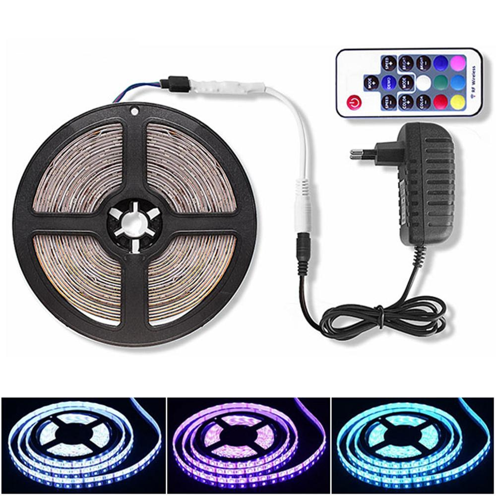 RF / WIFI / Bluetooth RGB LED Strip 5050 DC 12V Waterproof Ribbon Led Light Strip Tape 60 LEDs/m 5M + Controller + Power Adapter