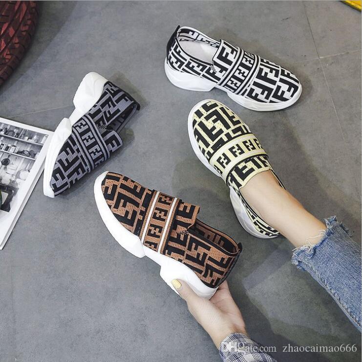 Fends Kadın Çorap Sneakers Ayakkabı F Harfler Moda Çorap Sneaker Ayak Bileği Düz Alt Örgü Çorap Ayakkabı Hız Eğitmen Sneakers Çorap Gibi B81405