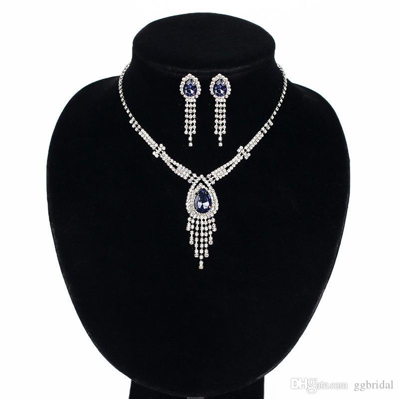 Luxus Brautschmuck Set mit Kristallen Farbige Rhinestone Halskette Ohrstecker für Braut Brautjungfern Abend Prom Party Zubehör
