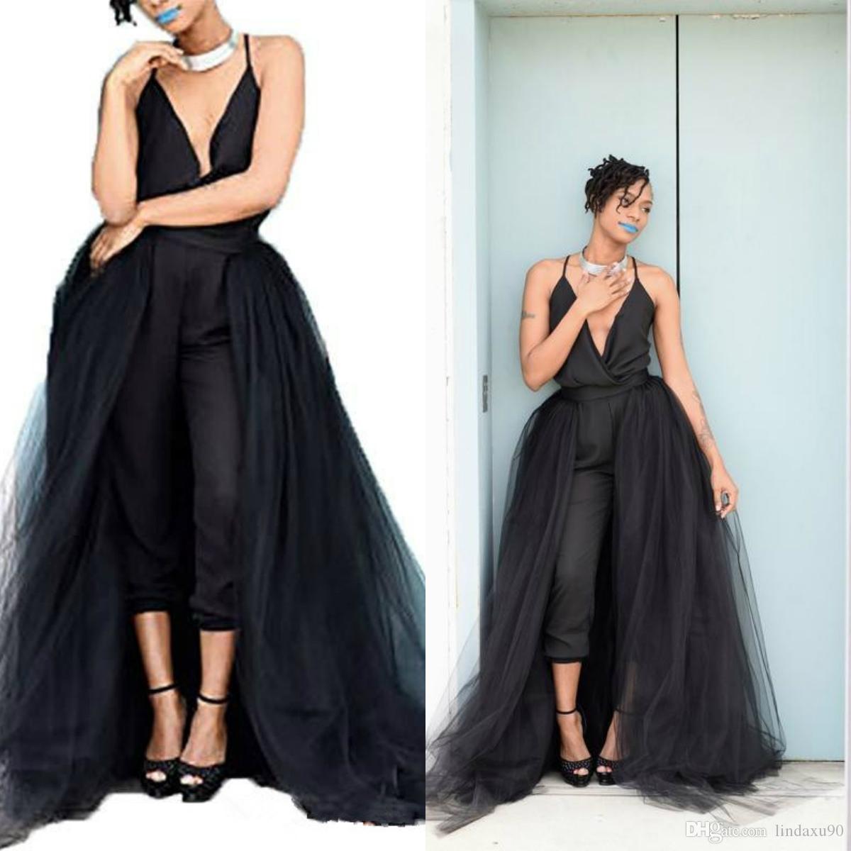 Sexy Preto 2020 Macacões Prom Dresses com destacável Train V Neck Mulheres Formal Wear vestido Evening Vestidos menina Africano
