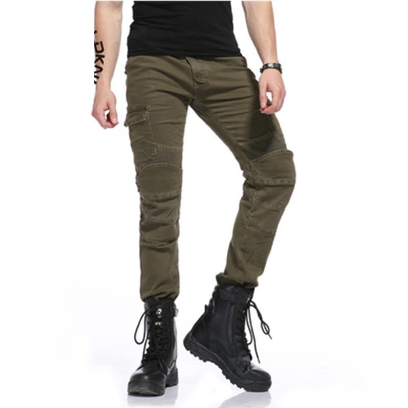 pantalones de la motocicleta de Moto pantalones de montar anti-caída del ejército de carreras ocasionales caballero verde los hombres delgados de la motocicleta