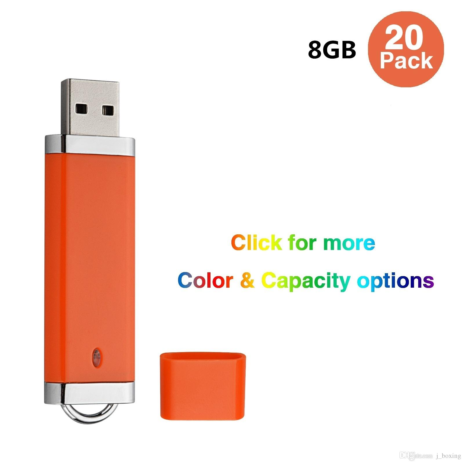 Toplu 20 Çakmak Tasarım 8 GB USB 2.0 Flash Sürücüler Bilgisayar Laptop için Flash Memory Stick Kalem Sürücü Başparmak Depolama LED Göstergesi Çok renkler