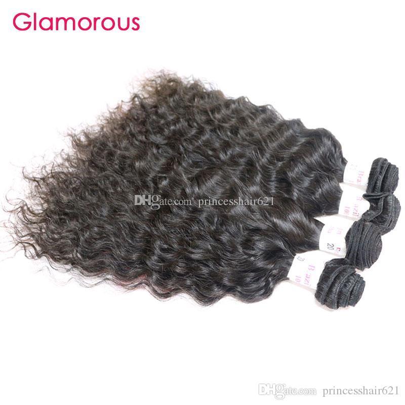Glamour Raw Indian Capelli per capelli da 12 a 34 pollici peruviani Malese Brasiliani Bandetti brasiliani Bundles 4pcs / lot Colore naturale 100% Capelli umani bagnati e onda