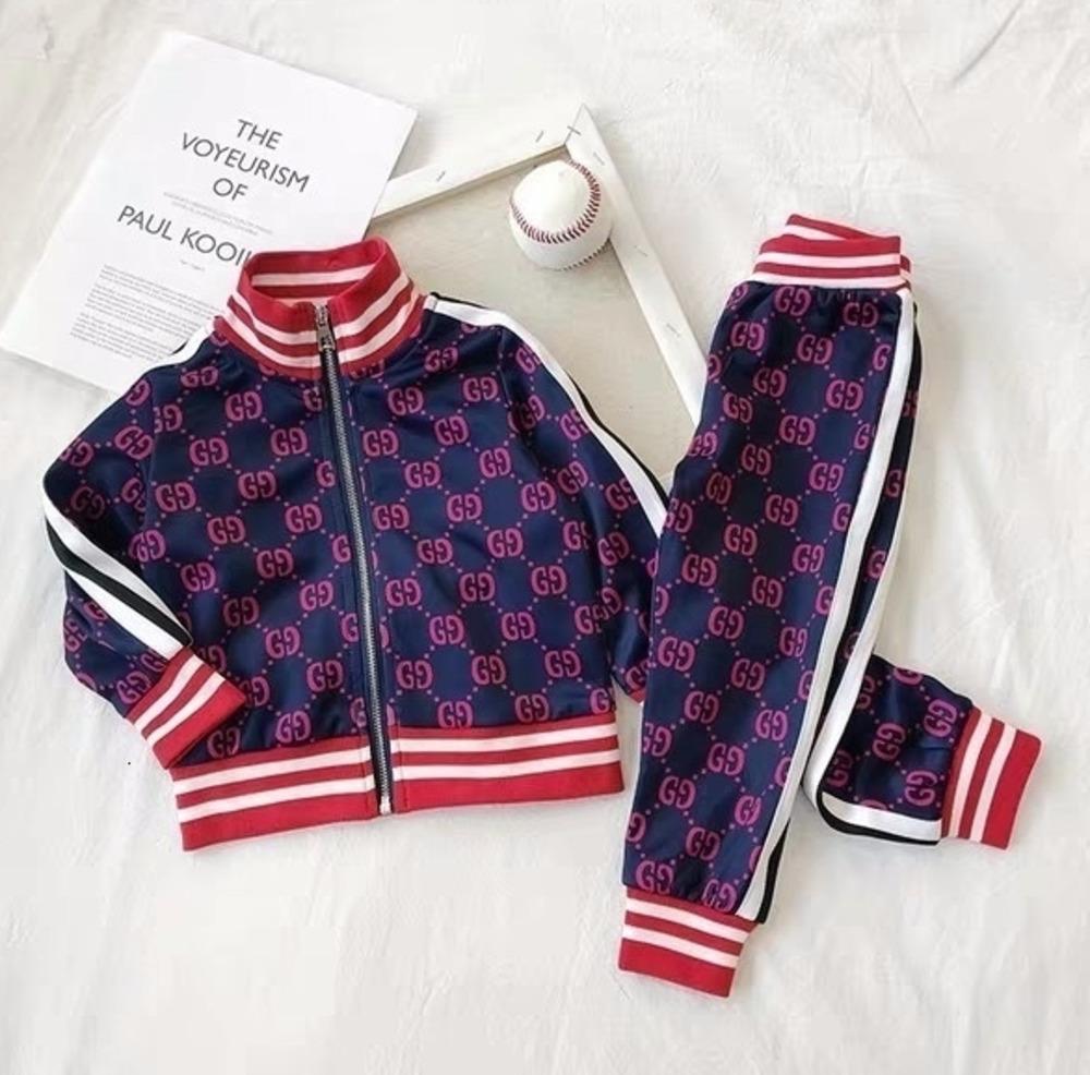 Sonbahar Çocuk Kazak Yazım Renkli Kollu Çember Malzeme Giyim Seti Boys Çocuk Kız Suits ayarlar Çocuk Giyim 011108