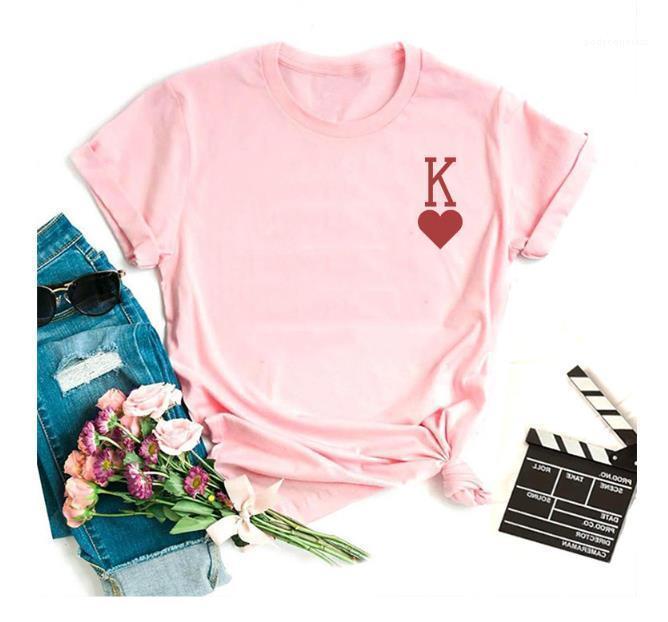 Schreiben Herz Frauen Sommer Designer-T-Shirts Rundhals Kurzarm 5Colors Größe M 3XL Frauen Tees Kurze beiläufige K